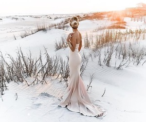 hair, dress, and place image