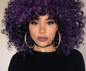 hair, purple, and curly hair image