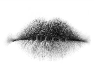 lips, art, and tree image
