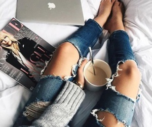 coffee, jeans, and style image
