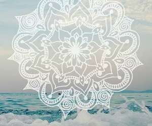 mandala, sea, and white image