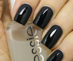 nails, black, and essie image