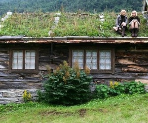 house, nature, and cabin image