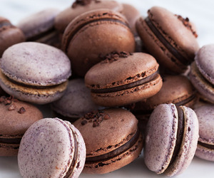 food, chocolate, and macaroons image