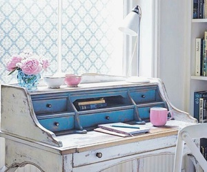 desk, home decor, and cottage style image