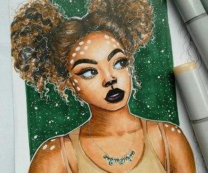 art, beautiful, and black lips image