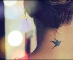 tattoo, bird, and neck image