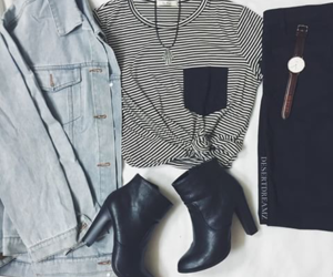 black and white, outfit, and fashion image