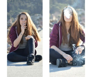 air, bad girl, and cigarette image