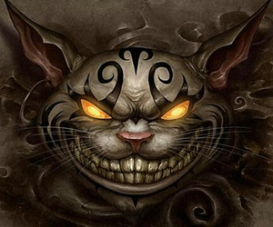 cat, alice, and Cheshire cat image