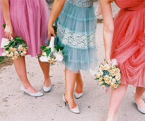dress, flowers, and bridesmaid image