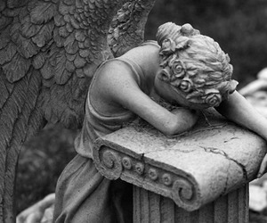 angel, black and white, and sad image