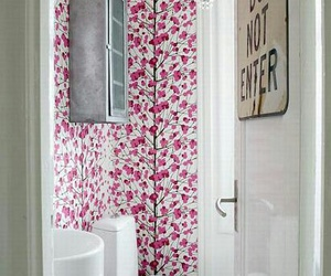 floral wallpaper, feminine decor, and home decor image