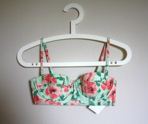 bra, floral, and flowers image