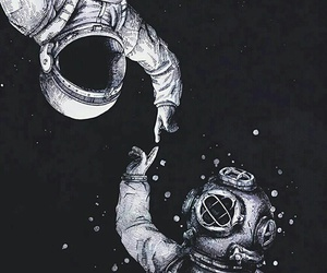 astronaut, hand, and space image