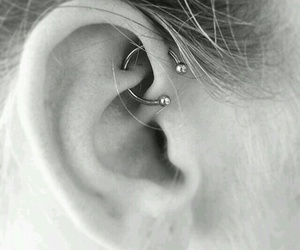 piercing, girl, and ear image