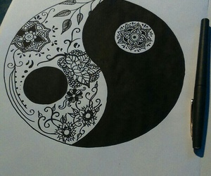 black, drawing, and flowers image