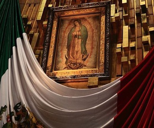 Virgin Mary and mexico flag image