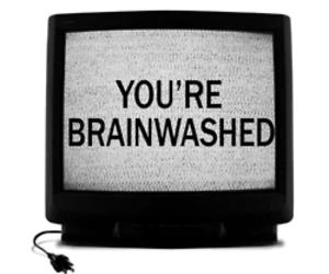 tv, brainwashed, and text image