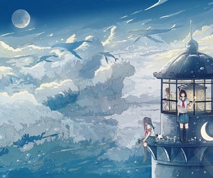 anime, clouds, and Flying image