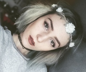 eyebrows, makeup, and flower crown image
