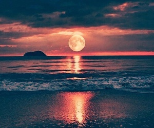 beach, moon, and sea image
