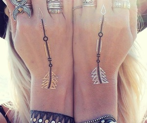 boho, rings, and tattoo image