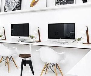 black, desk, and interior design image