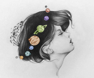 girl, art, and planet image
