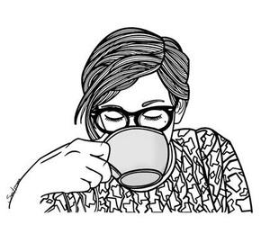 cafe, preto e branco, and drawing image