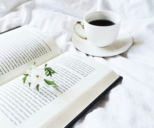 books, flowers, and white image
