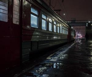 train and rain image