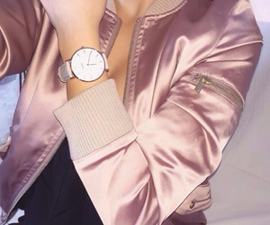 pink, silk, and bomber jacket image