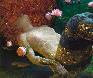 mermaid, art, and fish image