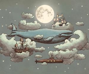 art, whale, and clouds image