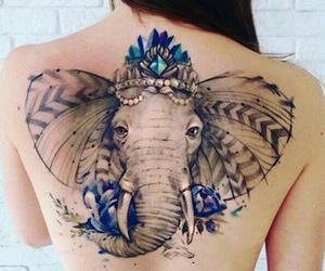 color, elephant, and tattoo image
