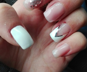 french, nails, and sparkle image