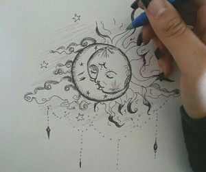 moon, sun, and art image