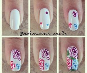 nails, rose, and nail art image