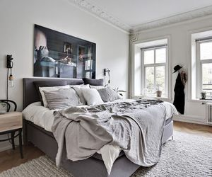 bed, bedroom, and grey image