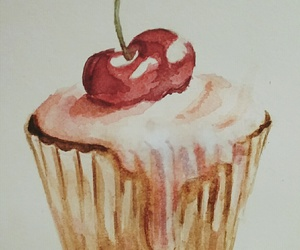 cake, cherry, and drawing image