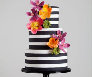 cake, flowers, and black image