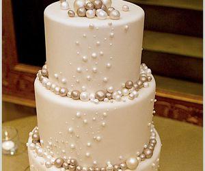 cake, pearls, and wedding image