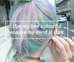 dark, hair, and colorful image