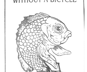 fish, woman, and bicycle image