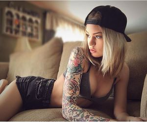 girl, beauty, and tattoo image