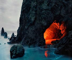 nature, cave, and ocean image