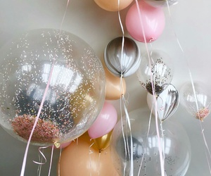 balloons, party, and pink image