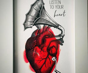 art, drawing, and heart image