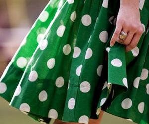 green, dress, and polka dots image